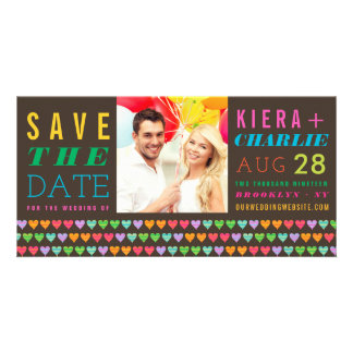 Rainbow Hearts Summer Save The Date Photo Card
