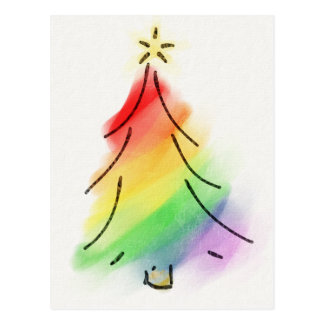 Rainbow Holiday Tree Postcard