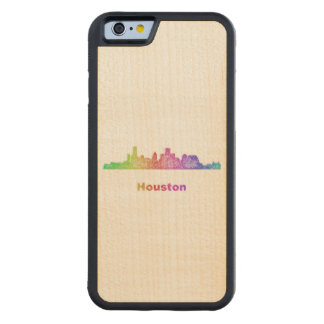 Rainbow Houston skyline Carved Maple iPhone 6 Bumper Case