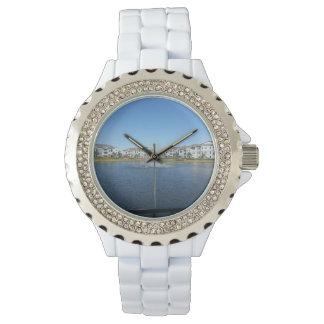 Rainbow in H2O Custom Rhinestone White Enamal Watch