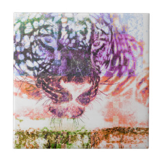 Rainbow Jaguar Cat Design Tile