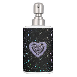 Rainbow Jeweled Sparkles with Celtic Heart Knot Soap Dispenser And Toothbrush Holder