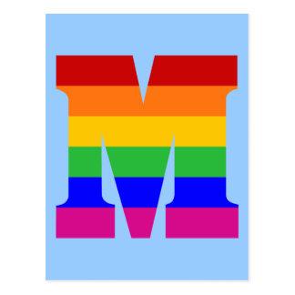 Rainbow Letter M Postcard
