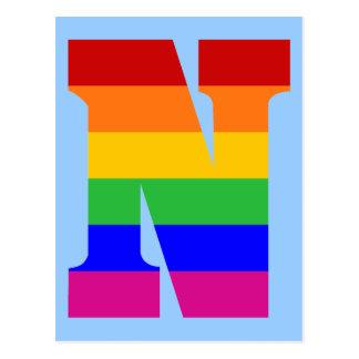 Rainbow Letter N Postcard