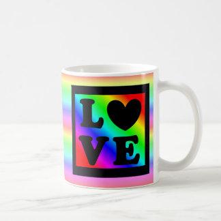 Rainbow LGBT Heart Love Button Coffee Mug