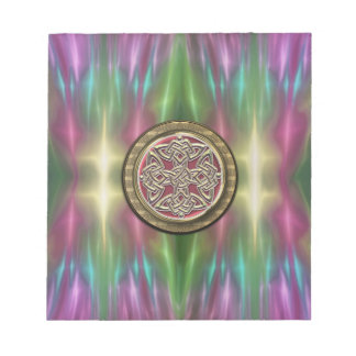 Rainbow Lights Gold Stone Celtic Shield Knot Notepad