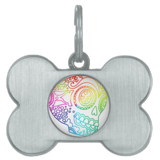 Rainbow Lines Sugar Skull in Love Pet Name Tags