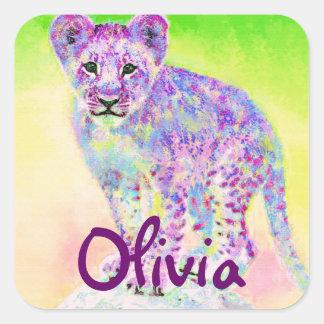 rainbow lion cub square sticker