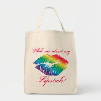 Rainbow Lip Print Kiss Lipstick Custom Message Tote Bag