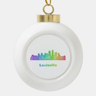 Rainbow Louisville skyline Ceramic Ball Christmas Ornament