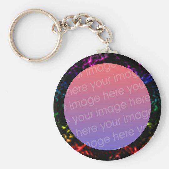rainbow marble photo frame basic round button key ring