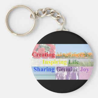 Rainbow Meaning of Life Words with Pictures Key Ring