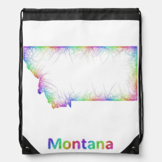 Rainbow Montana map Drawstring Bag