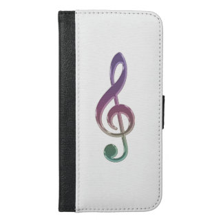Rainbow Music Clef on White Wallet Phone Case