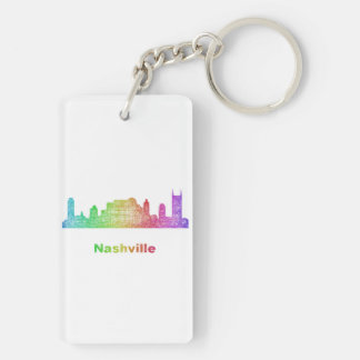 Rainbow Nashville skyline Key Ring