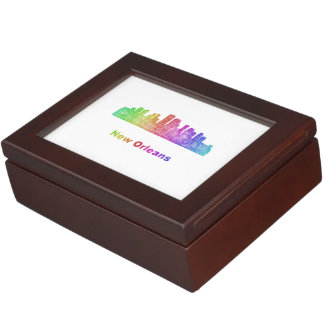 Rainbow New Orleans skyline Keepsake Box