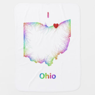 Rainbow Ohio map for Carly Peyton Brandt Baby Blanket