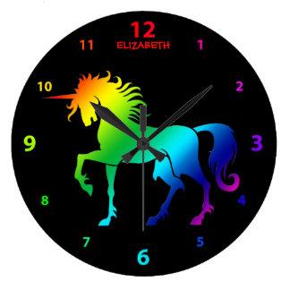 Rainbow On Black Named Unicorn Clock