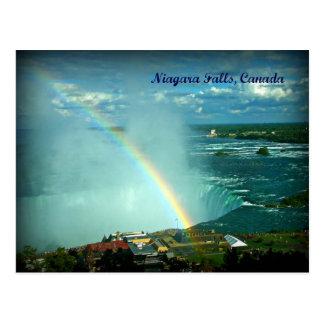 Rainbow Over Niagara Falls Canada Side Postcard