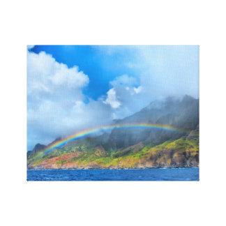 Rainbow over the Na Pali Coast Kauai, Hawaii Stretched Canvas Prints
