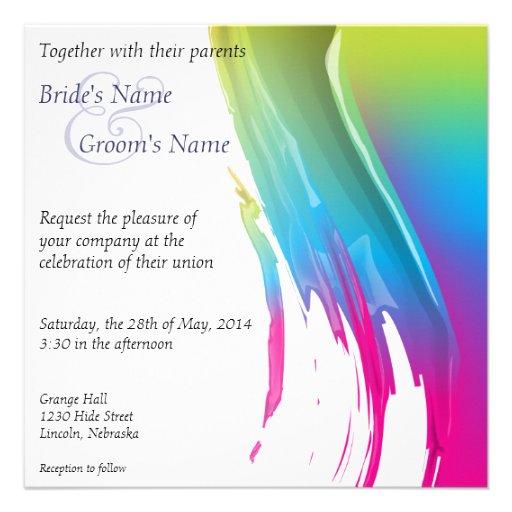 Rainbow Paint Splash Wedding Invite - 1