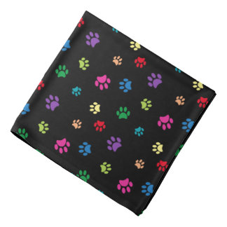 Rainbow Painted Paw Prints (dark) Kerchiefs