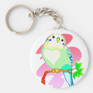 Rainbow Parakeet Basic Round Button Key Ring