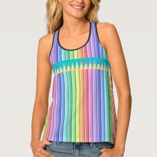 Rainbow Pastel Color Crayons or Pencils Tank Top