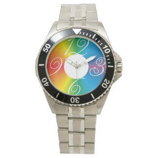 rainbow pastel colors fabric design circles watch