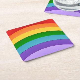 Rainbow Pattern Square Paper Coaster