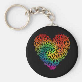 Rainbow Peace Heart Key Ring