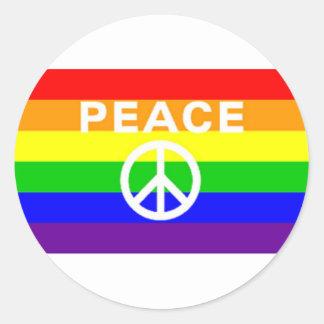 Rainbow peace sign flag round sticker