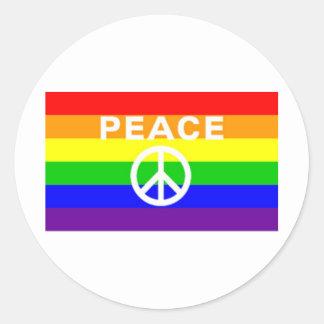 Rainbow peace sign flag stickers