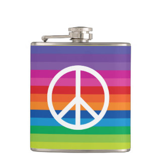 Rainbow Peace Sign Hip Flask