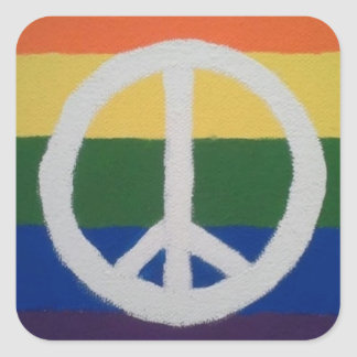 Rainbow Peace Sign Square Sticker