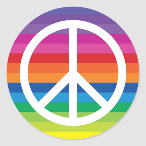 Rainbow Peace Sign Round Stickers