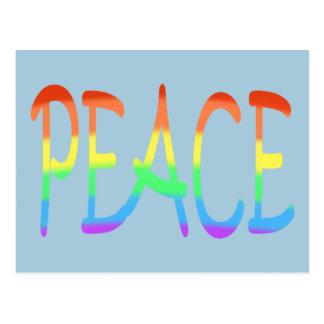 Rainbow Peace Word Colours Postcards