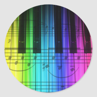 Rainbow Piano Keyboard and Notes Round Sticker