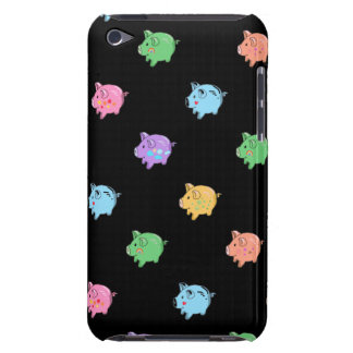 Rainbow Pig Pattern on black iPod Touch Cases