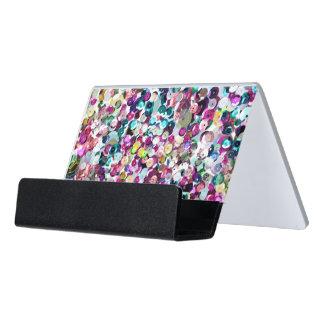Rainbow Pink Sequin Sparkles All Over Print Desk Business Card Holder
