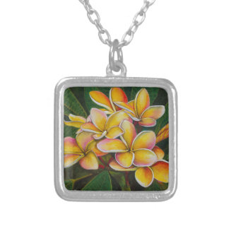 Rainbow Plumeria Silver Plated Necklace