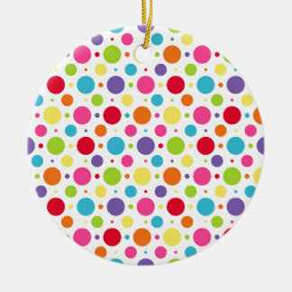 Rainbow polka dots christmas ornament