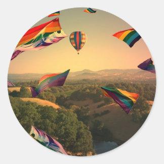 Rainbow Pride Over the Sonoma Valley Classic Round Sticker