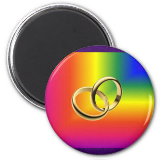 Rainbow Pride with Gold Wedding Bands Magnet