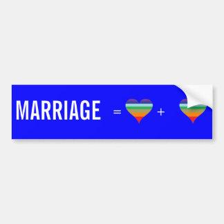 rainbow, rainbow, MARRIAGE , =              + Car Bumper Sticker