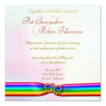 Rainbow Ribbon Double Hearts Wedding Invitation 2 13 Cm X 13 Cm Square Invitation Card