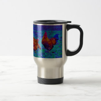 Rainbow Rooster & Hens, Electric Blue Coffee Mug