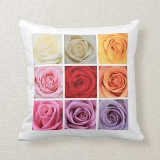 Rainbow roses square collage cushion