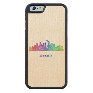 Rainbow Seattle skyline Carved Maple iPhone 6 Bumper Case