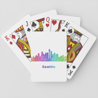 Rainbow Seattle skyline Playing Cards
